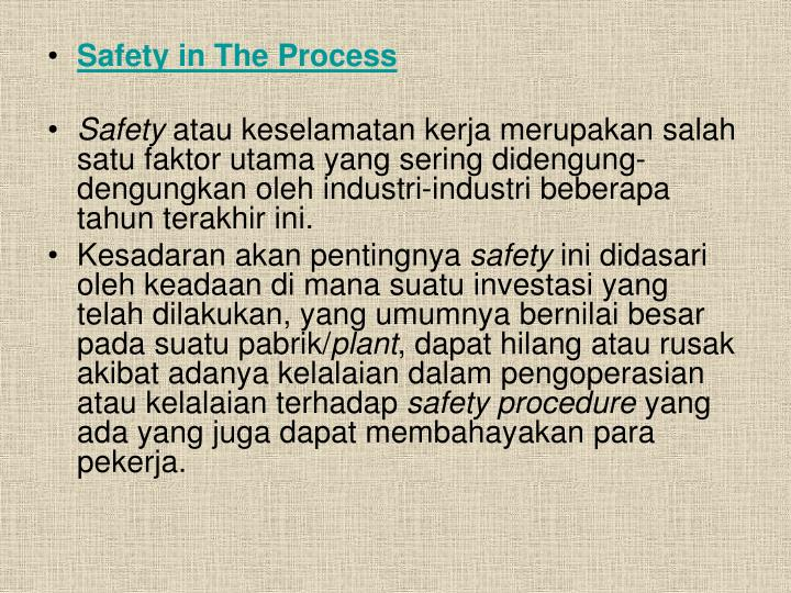 Safety in The Process