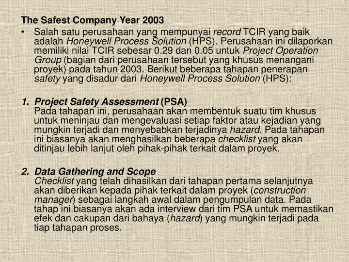 The Safest Company Year 2003