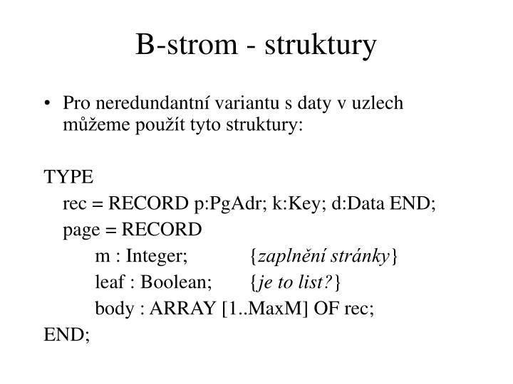 B-strom - struktury