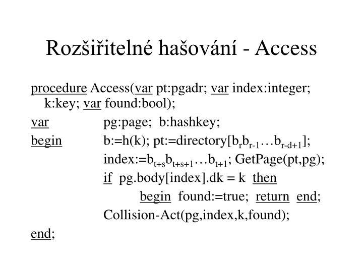 Rozšiřitelné hašování - Access