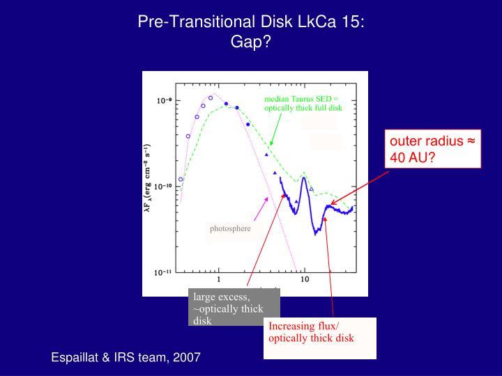 Pre-Transitional Disk LkCa 15: