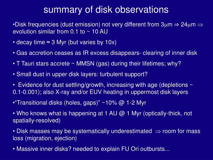 summary of disk observations