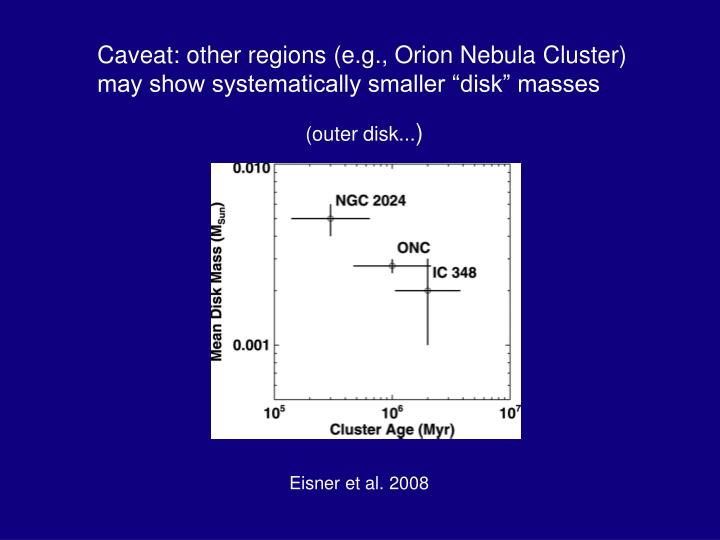 """Caveat: other regions (e.g., Orion Nebula Cluster) may show systematically smaller """"disk"""" masses"""