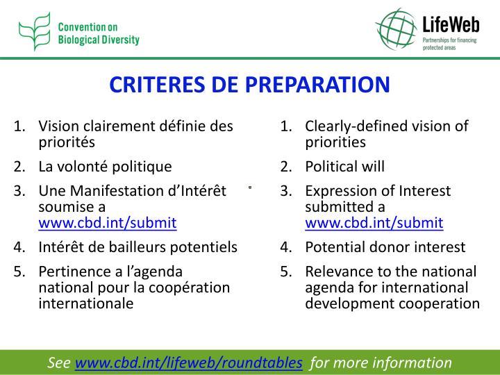 CRITERES DE PREPARATION