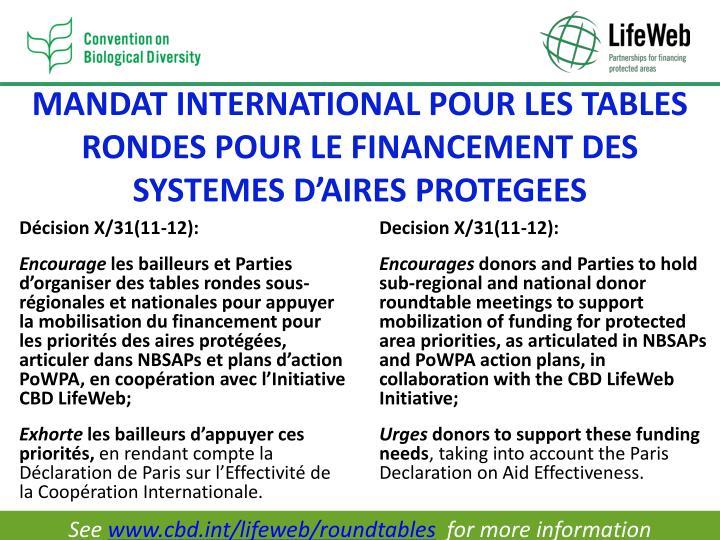 MANDAT INTERNATIONAL POUR LES TABLES RONDES POUR LE FINANCEMENT DES SYSTEMES D'AIRES PROTEGEES