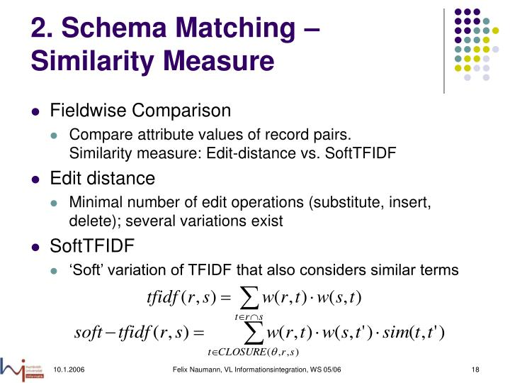 2. Schema Matching – Similarity Measure