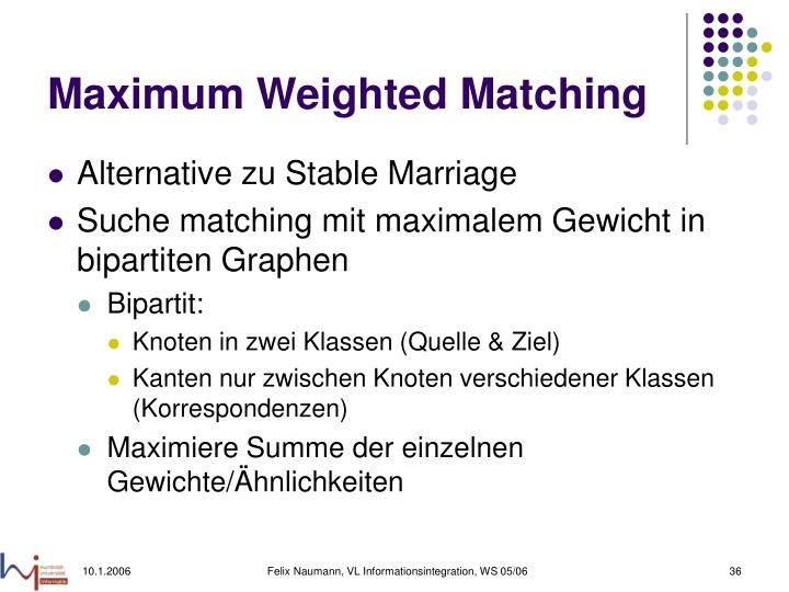 Maximum Weighted Matching