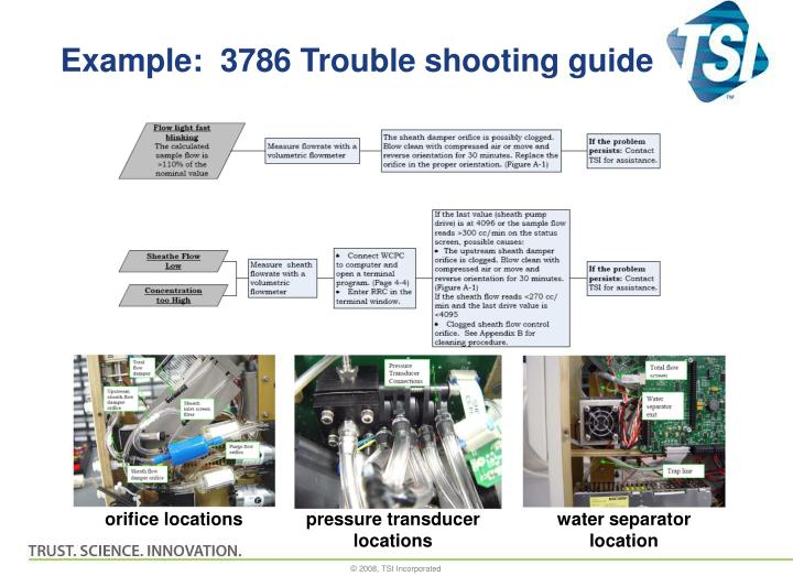 Example:  3786 Trouble shooting guide