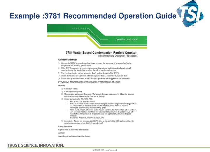 Example :3781 Recommended Operation Guide