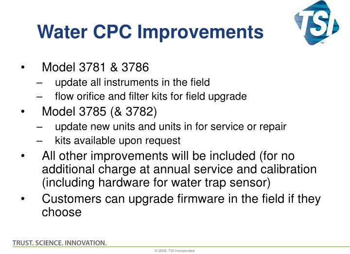 Water cpc improvements
