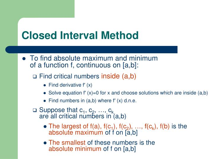 Closed Interval Method