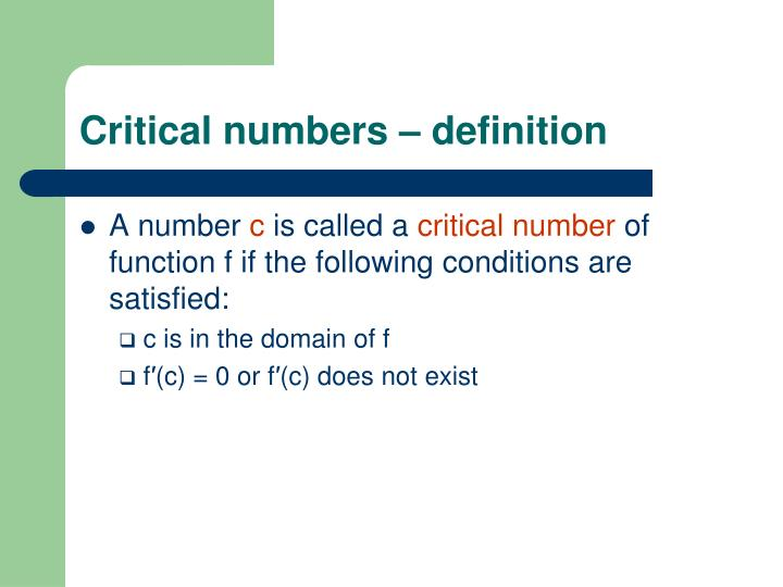 Critical numbers – definition