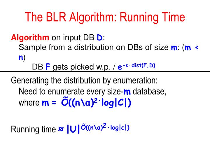 The BLR Algorithm: Running Time