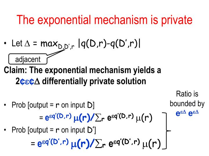The exponential mechanism is private