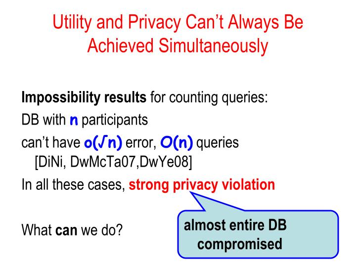 Utility and Privacy Can't Always Be Achieved Simultaneously