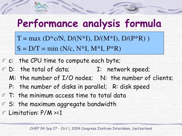 Performance analysis formula