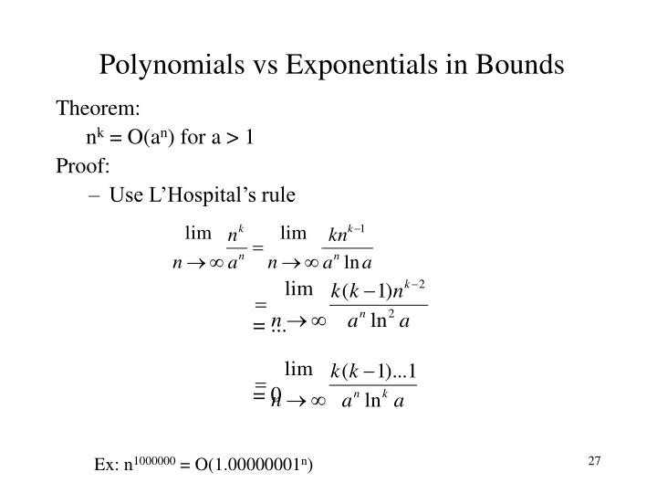 Polynomials vs Exponentials in Bounds