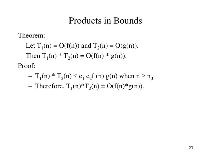 Products in Bounds