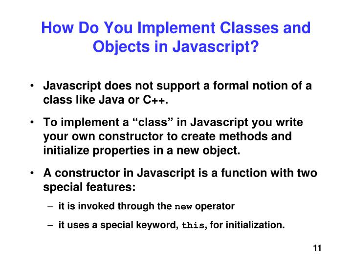 How Do You Implement Classes and Objects in Javascript?
