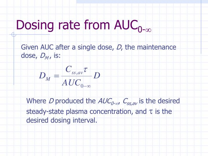 Dosing rate from AUC