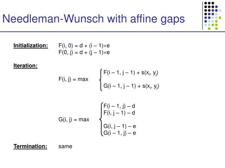 Needleman-Wunsch with affine gaps