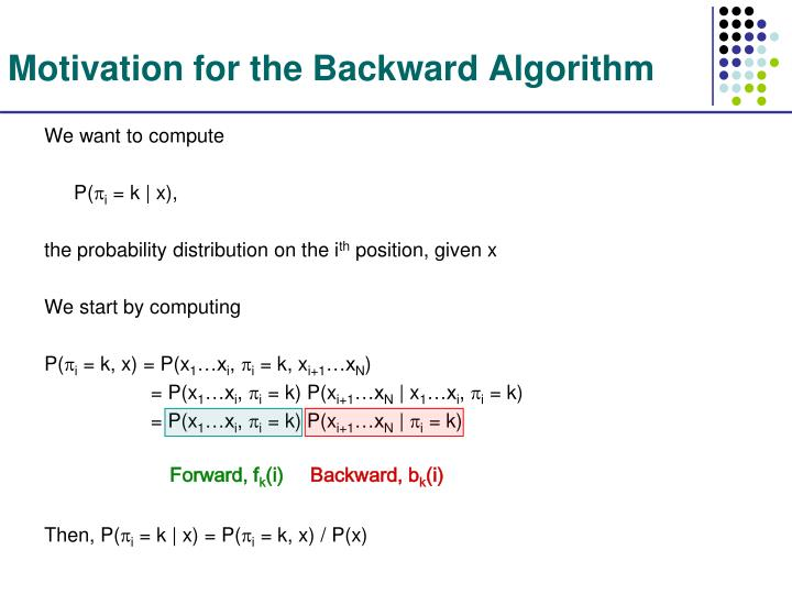 Motivation for the Backward Algorithm