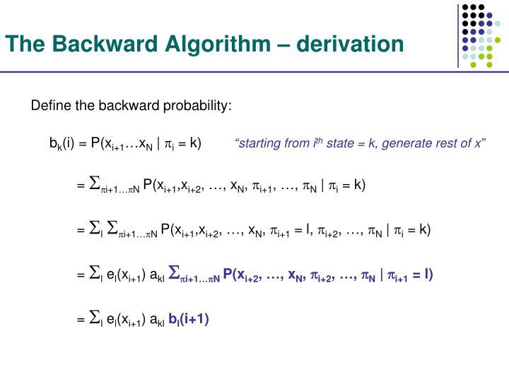 The Backward Algorithm – derivation