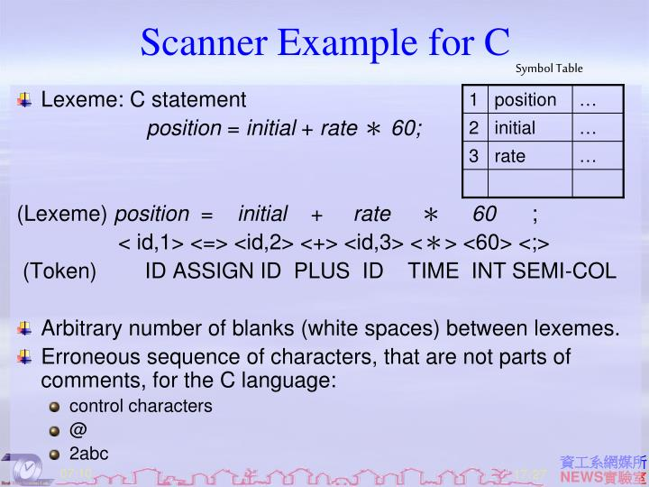 Scanner Example for C