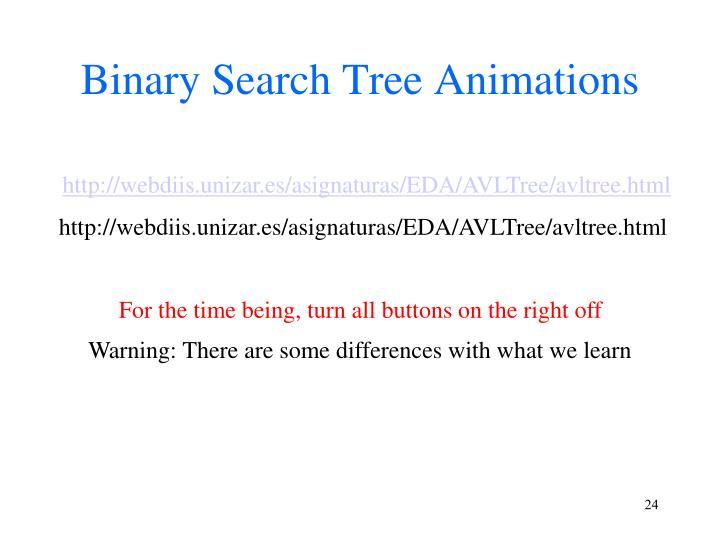Binary Search Tree Animations