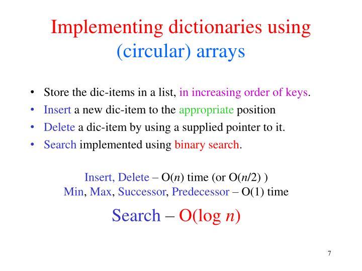 Implementing dictionaries using