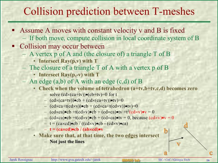 Collision prediction between T-meshes