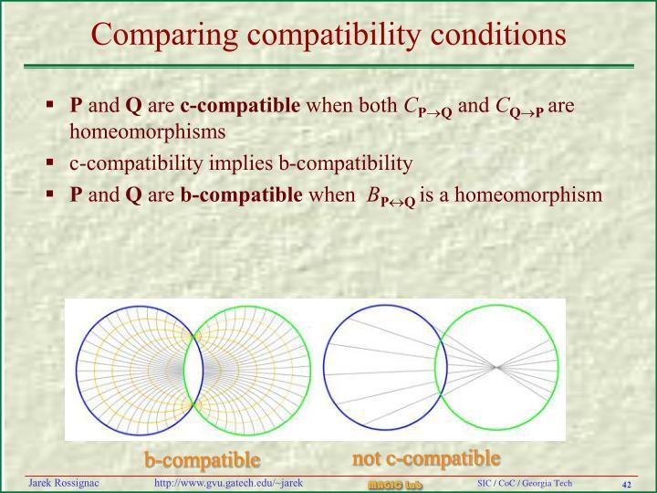 Comparing compatibility conditions
