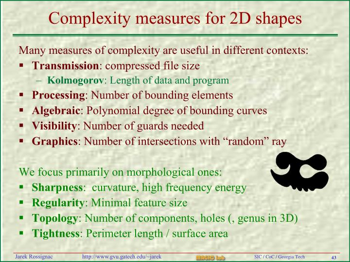 Complexity measures for 2D shapes