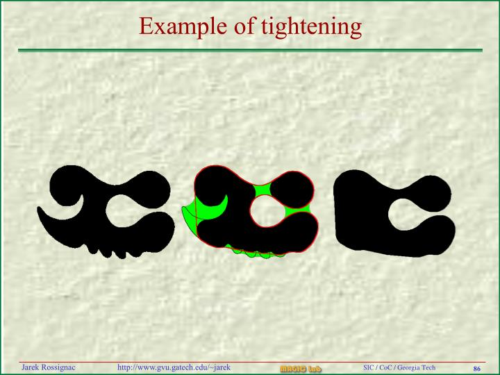 Example of tightening