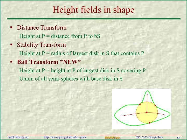 Height fields in shape