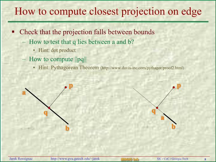 How to compute closest projection on edge