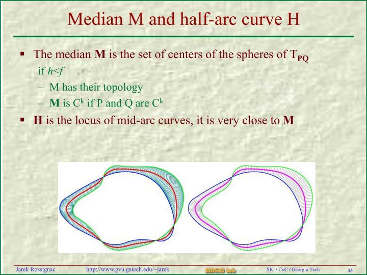 Median M and half-arc curve H