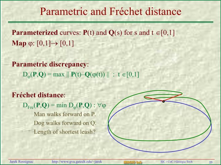 Parametric and Fréchet distance