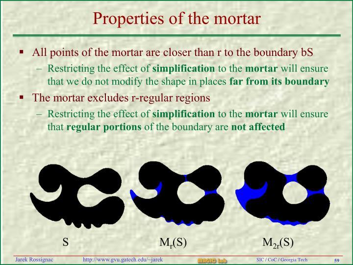 Properties of the mortar