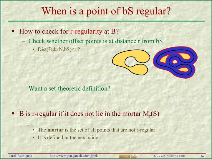 When is a point of bS regular?