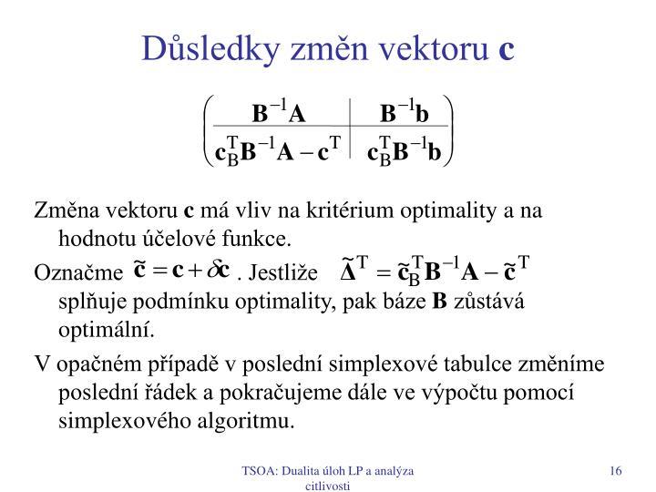 Důsledky změn vektoru