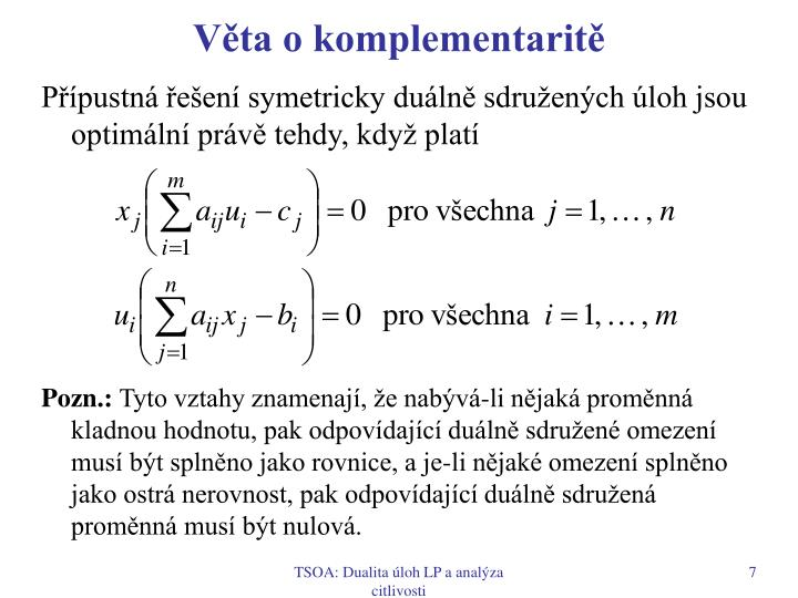 Věta o komplementaritě