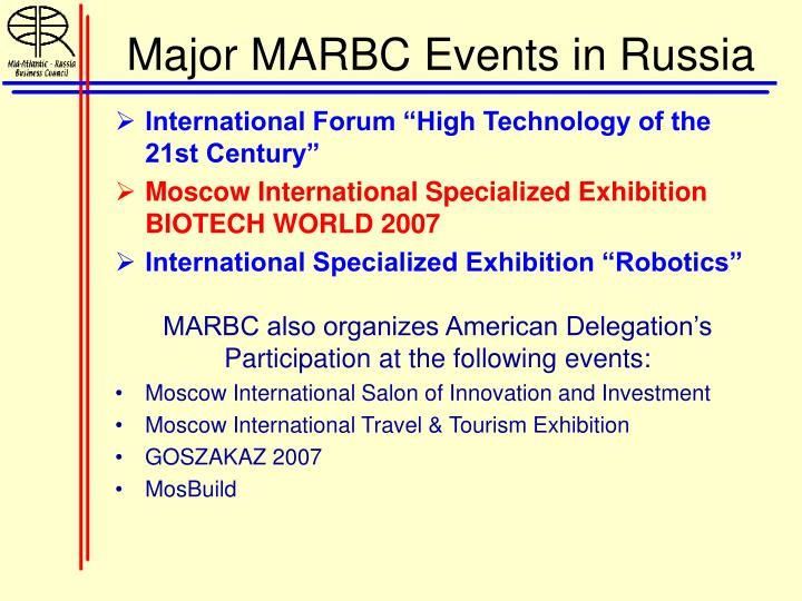 Major MARBC Events in Russia
