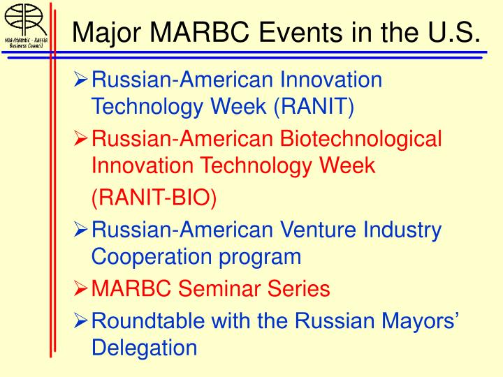 Major MARBC Events in the U.S.