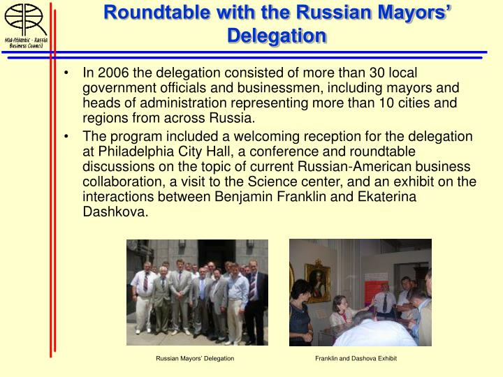 Roundtable with the Russian Mayors' Delegation