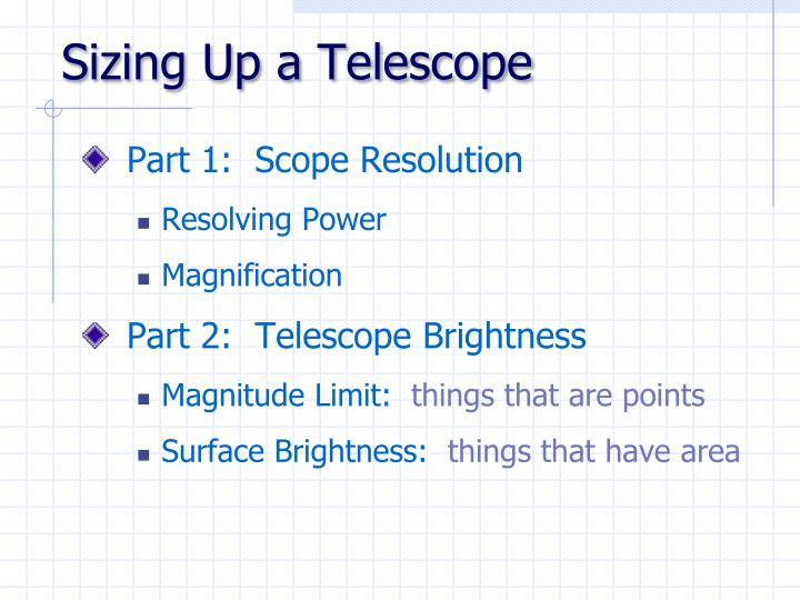 Sizing up a telescope