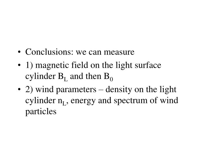 Conclusions: we can measure