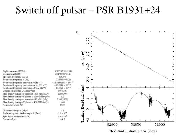 Switch off pulsar – PSR B1931+24
