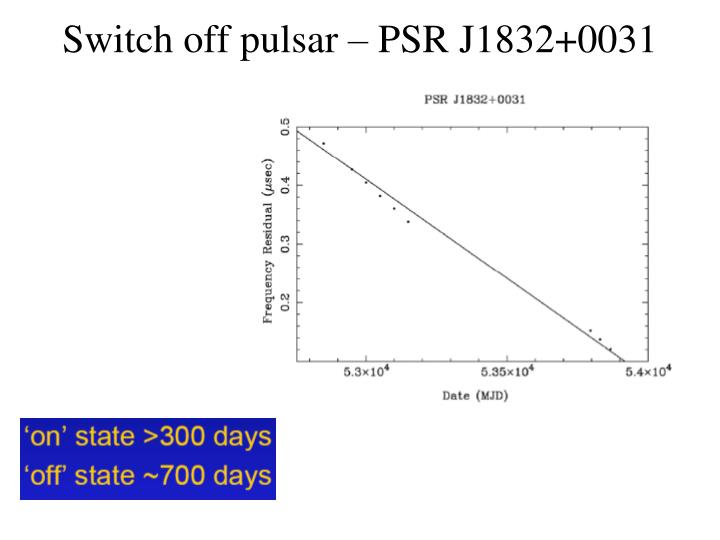 Switch off pulsar – PSR J1832+0031