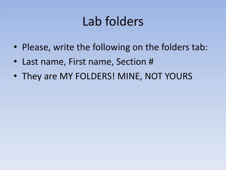 Lab folders